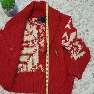 American Eagle Outfitters Sweaters - American Eagle Snowflake Red Button up Sweater L